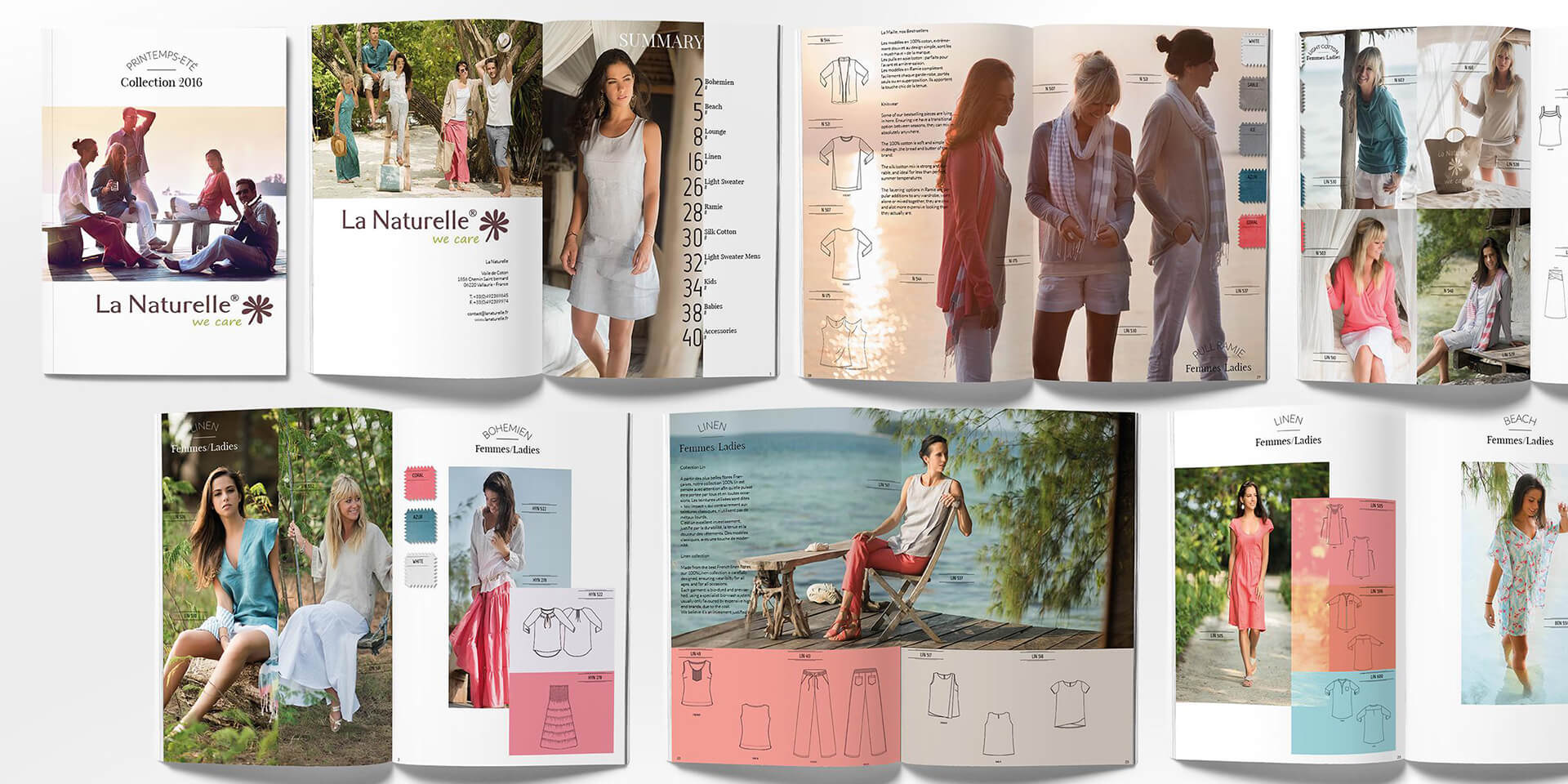 marketing ads print lanaturell catalogue french fashion art works collection pattern bali layout graphic design