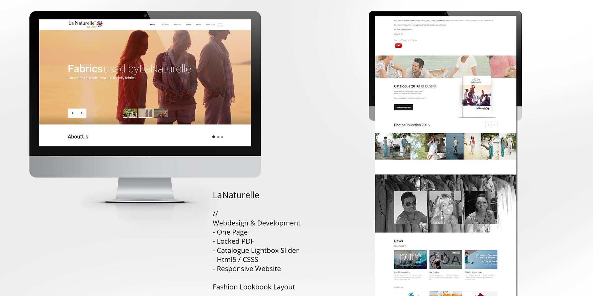 webdesign lanaturell website onepage fashion french sainttropez